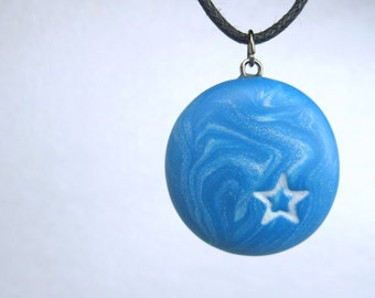 Blue Star Necklace, Handmade Polymer Clay Jewelry Pendant