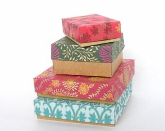 100 Assorted sizes Gold Print with Kraft Gift box, Bracelet box,Wedding favor box, Chocolate box, Packaging box