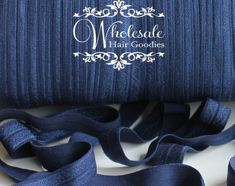 Fold Over Elastic - NAVY BLUE 5/8 Inch Fold Over Elastic - FOE - Foldover Elastic - Diy Headband & Hair Tie