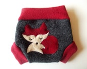 NEWBORN Wool Diaper Cover Red Fox Upcycled Wool Diaper Soaker