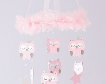 Owl Nursery Mobile with CRYSTAL acrylic beads, in Pink & Taupe- Baby Mobile, Crib Mobile, Baby Shower Gift