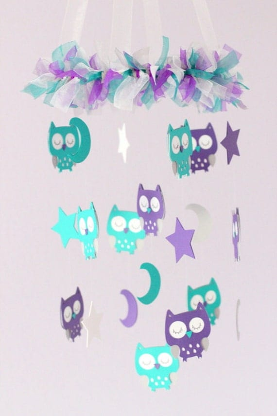Owl baby nursery mobile in purple teal gray amp white baby mobile