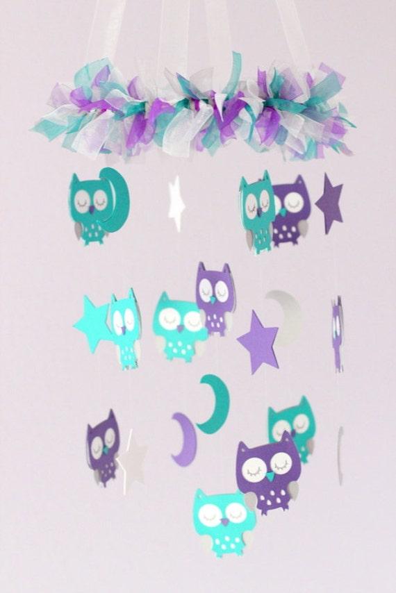 Teal gray nursery : Baby nursery mobile in purple, teal, gray & white- mobile, crib ...