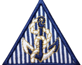 ID #1969 Anchor Decor Triangle Nautical Badge Embroidered Iron On Badge Applique Patc