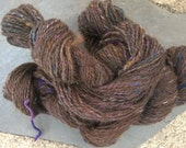 Handspun Yarn: 2 Ply Brown Alpaca with Merino, Mohair and Sparkle
