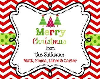 Christmas Stickers Labels  or  gift enclosure cards - personalized-chevron- square-address