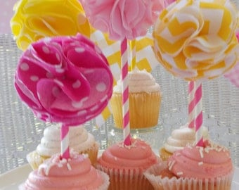 Fabric Cake/Cupcake Topper- Yellow and Pink Flowers, birthday