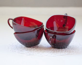Set of 4 Vintage Square Cups, Ruby Red
