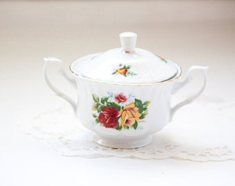 Arpo Double Handled Sugar Bowl Made in Romania, Rose Pattern