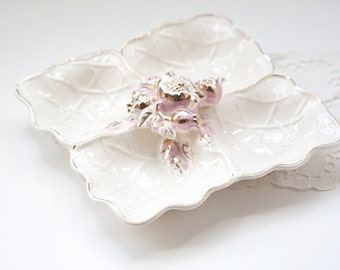 Vintage Snack Plate or Tidbit Tray, Creamy White, Gold & Pink