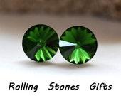 12mm Dark Moss Green Swarovski Rivoli Rhinestone Stud Earrings-Green Crystal Studs-Dark Moss Green Crystal Swarovski Stud Earrings