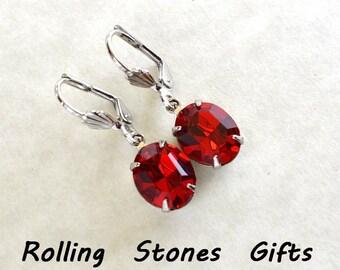 12x10mm Siam Swarovski Oval Lever back Rhinestone Earrings-Siam Red Crystal Dangle Rhinestone Earrings -Siam Dangle Earrings-