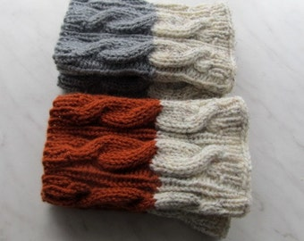 Knit Boot Cuff, set of 2 pairs, rusty and oatmeal color, grey and oatmeal color, wellies boot cuff, Wool, hand knitted,  (17)