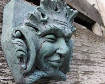 Bacchus Green Man In A Verdigris Finish, Wall Art, Garden Decoration, Cast  Stone