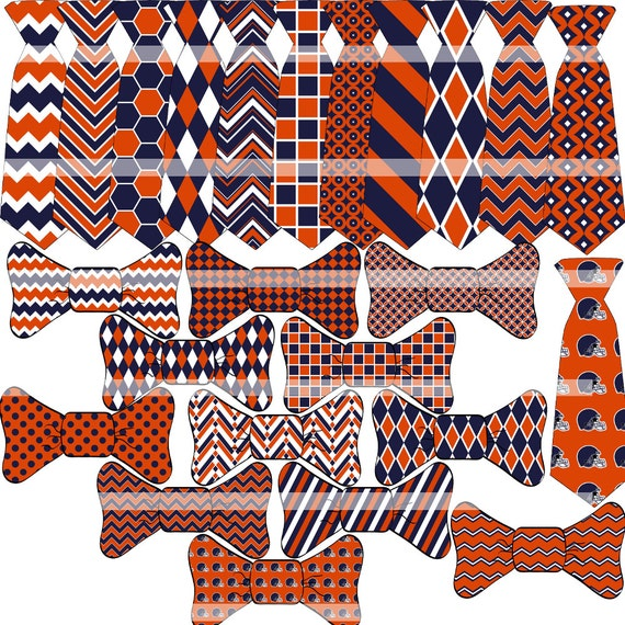 OFF %40 - INSTANT DOWNLOAD - Digital Necktie and Bow Tie -  Chicago Bears Colors - Dark Navy, Orange and White 24 Printable Images