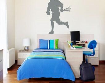 Lacrosse Player Wall Art Decal - Lacrosse Fan, Lacrosse Player Gift, Lacrosse Decal, Lacrosse Sticker, Lacrosse Wall Art, Sport Wall Sticker