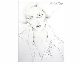 "She & Her Hand I  - Pencil Drawing Print 8.5"" x 11"""