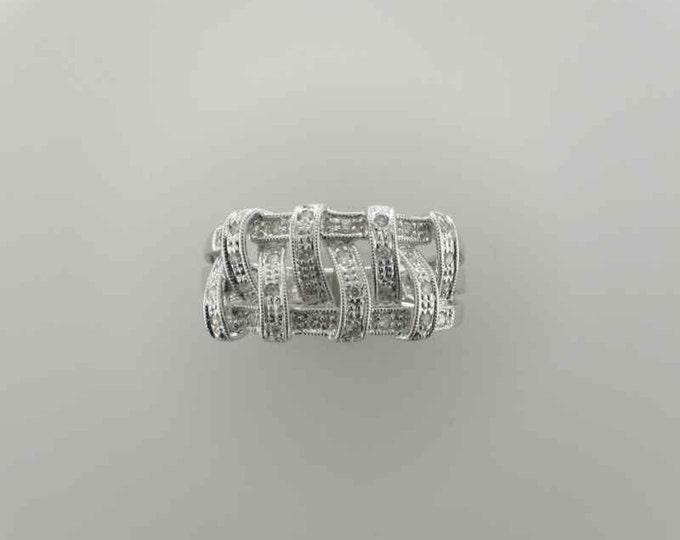 White Gold Diamond Fashion Ring; Diamond Band Ring; Decorative Diamond Band Ring