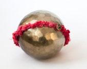 Newborn tieback headband - red, gold, Christmas - Holiday Collection