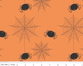 Holiday Spiders Web Orange -  Banner Coordinants  -  Riley Blake Designs Half Yard Cut - Halloween Fabric - Spider Fabric