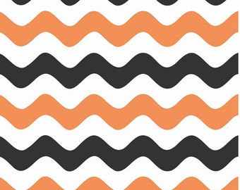 Wave Orange/Black by Riley Blake Designs 1 yard cut - Wave Fabric