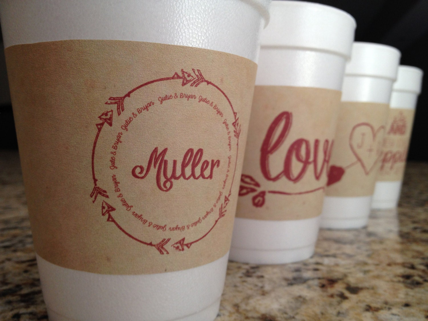 Custom paper coffee cups and sleeves