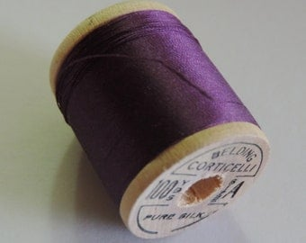 Vintage Corticelli Pure Silk Hand Sewing Embroidery Thread 100 Yd. Wooden spool of  Shade 8570 Dark Purple