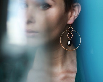 Black onyx gemstone gold hoop long earrings
