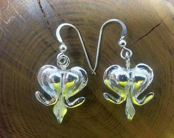 Hand cast Sterling Silver Bleeding Heart Earrings