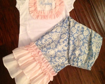 NeW iTeM GORGeOUS BLuE DaMask PiNk DoTs STRiPes Girl Baby Toddler Outfit Ruffle Pants Shirt Birthday Party 12 18 24 Months 3T 4T