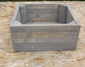Reclaimed Wooden Storage Crate With Weathered Grey Finish, Home Decor, Wedding Decor, Kitchen Decor