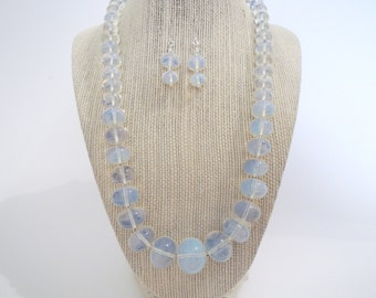 Opalite Iridescent Opal Necklace Silver Set Earrings Double Strand Gift  Fashion Under 40