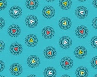 Camelot Cottons - 1/2 Metre  Plume - Tossed Hearts in Blue / Cinnamon Joe Studio