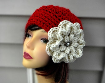 Red Crochet Hat with Flower Womens Hat Crochet Hair Accessories