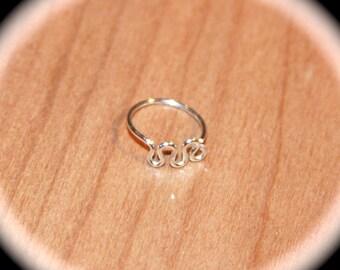 Small Waves Sterling Silver Cartilage Earrings, 20 22 24 gauge, Wave Nose Ring, Nose Hoop, Helix Hoop, Nose Rings Piercing Jewelry