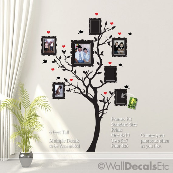 Family Tree Wall Decal with Hearts Birds Picture Frames