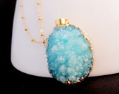Long Turquoise Druzy Necklace, Natural Aqua Stone Pendant, Blue Geode, Layering Jewelry, Beach Inspired