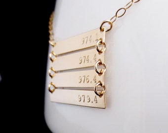 Personalized Gold Bars Necklace, Four Childrens Names, Handstamped Gold Minimalist, Kardashian Inspired, Mommy Jewelry, Mothers Necklace