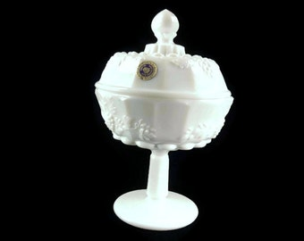 Westmoreland Paneled Grape Milk Glass Footed Candy Dish