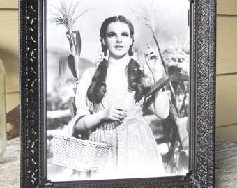 Vintage 1939 Country Prairie Kansas Farmhouse Ornate Metal Photo Picture Frame Actress Judy Garland as Dorothy WIZARD OF OZ Movie Photo