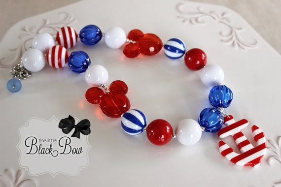 DISNEY CRUISE ANCHOR Nautical Chunky Necklace Red, White, Royal Blue Mickey Beads Child, Toddler, Baby Size Bubblegum Gumball Girls Jewelry