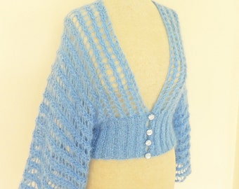 Blue Mohair Cardigan, Handknitted Women Jumper, Lace Blue Bolero, UK Seller