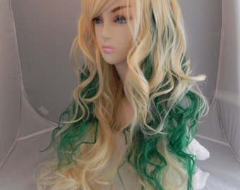 Luck of the Irish / Blonde and Green / Long Curly Layered Wig Full Thick Bouncy St Patricks Day