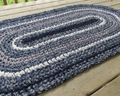 Colonial Rug Crochet Rag Rug Oval Large Cotton Washable Soft Handmade Bathmat Kitchen Porch Rustic Country Primitive Ivory Blue