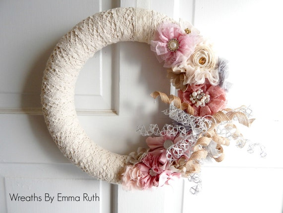 Shabby Chic Lace Yarn Wreath in Pink and Cream with Korker Ribbon and Flowers