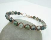 Green Moss Agate Bracelet, Copper or Red Brass Wire Wrapped Bangle, Heart Chakra Bracelet, Metaphysical Healing Crystal Bracelet