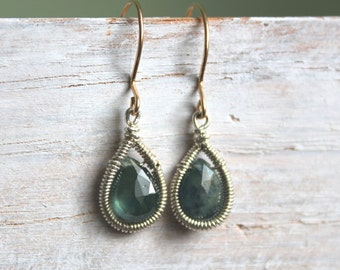 Blue Green Sapphire Sterling Earrings - Teardrop Earrings - Mixed Metal - Small Gemstone Dangle Earrings - Sapphire Jewelry