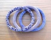 Purple Beaded Bracelet Set, Seed Beads,Nepal - PB215