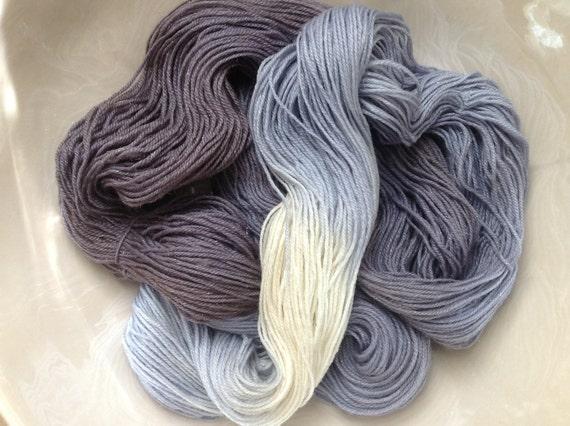 "Sparkly Hand Dyed Yarn, Fingering/Sock weight, Superwash Merino Wool/ Silk/ Nylon/ Silver Poly, 420 yards/100g- 'Winterfell III"""