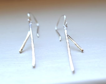 Minimalist organic twig silver earrings